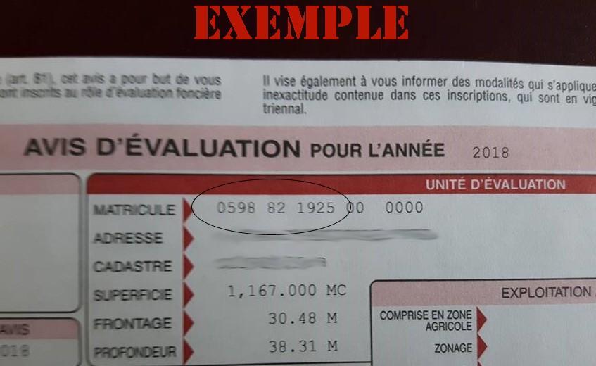 Exemple pour paiement des taxes (Auteur : Josée Ouellet)