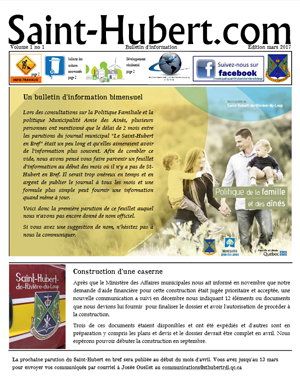 Saint-Hubert.com | Bulletin d'information Volume 1 no 1 - Édition mars 2017