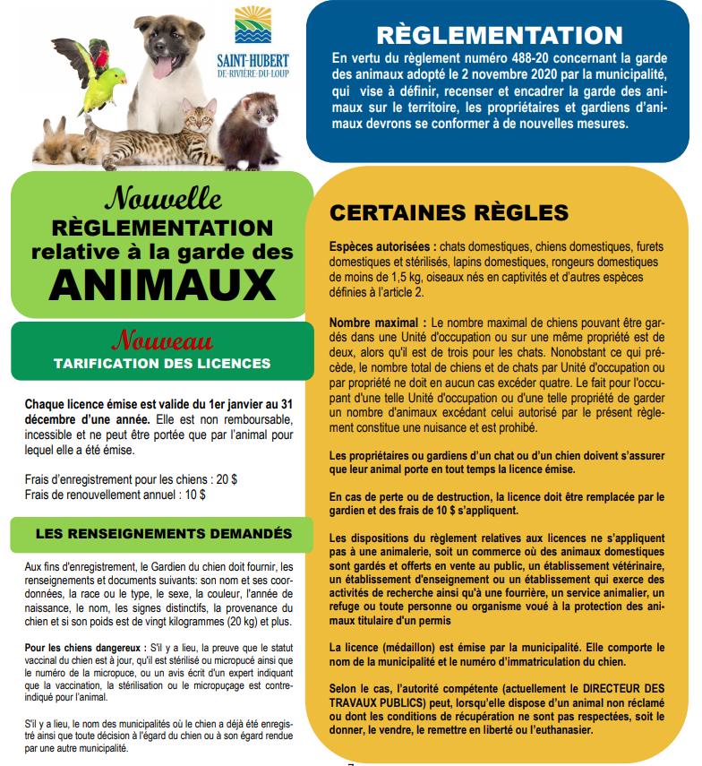 Règlement concernant la garde des animaux1 (Auteur : Josée Ouellet)